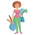 a girl carrying bags groceries vector image