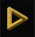 abstract gold glitter impossible triangle shape vector image vector image