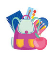 back to school backpack apple notepad pencils vector image vector image