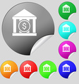 bank icon sign Set of eight multi colored round vector image