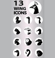 Birds and creatures with wing icons collection