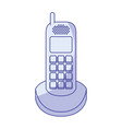 blue shading silhouette of cordless phone vector image vector image