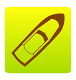 boat sign brown icon at green-yellow vector image vector image