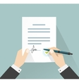 Businessman signing document hands holding vector image vector image