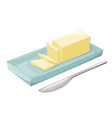 butter in a butter dish natural dairy product vector image vector image