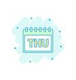 cartoon colored thursday calendar page icon in vector image