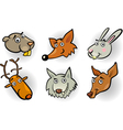 Cartoon forest animals heads set vector image
