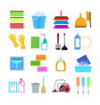 cartoon household cleaning signs icons set vector image