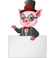cartoon pig businessman with blank sign vector image