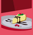 cheesecake with mint leaves and red cherries vector image