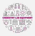 chemistry lab equipment outline round vector image