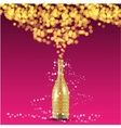 Christmas bottle and decorations background vector image vector image