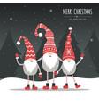 christmas card with gnomes season greeting vector image vector image