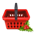 Christmas Sale Shopping basket icon with the vector image vector image