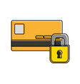 color finance credit card with padlock close vector image