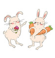 cute bunnies with flowers and carrots vector image