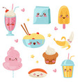 cute kawaii food cartoon characters set desserts vector image