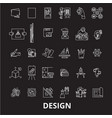 design editable line icons set on black vector image vector image
