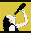 drinking woman with opened bottle in a hand vector image vector image