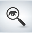 find the bear magnifying glass flat style vector image
