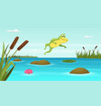 frog jumping in pond cartoon background vector image