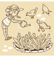 Girl watering the flowers vector image