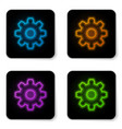Glowing neon gear icon isolated on white