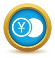 Gold yen coin icon vector image vector image