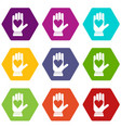 hand with heart icon set color hexahedron vector image