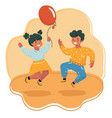 happy boy and girl jumping vector image vector image