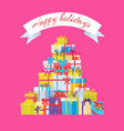 happy holidays postcard with mountain of gift vector image