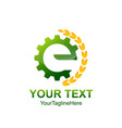 initial letter e logo template colored green vector image