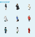 isometric human set of girl officer seaman and vector image