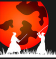 japanese samurai warriors silhouette with katana vector image vector image