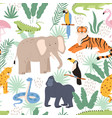 jungle animals and tropical palm leaves decorative vector image