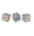 letter W wooden alphabet blocks vector image vector image
