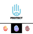 logo a stylized hand with eye symbol this logo vector image