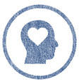 love in head rounded fabric textured icon vector image vector image