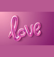 love realistic rubber balloon on pink vector image vector image