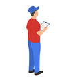 man checking warehouse icon isometric style vector image vector image