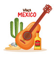 mexican culture cactus with guitar and tequila vector image vector image
