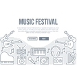 Music festival background with line icons vector image vector image