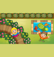 muslim kids and fish in garden vector image vector image