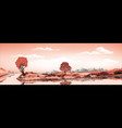 panorama of nature-the island in the lake volcano vector image vector image