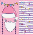 party flag with santa claus hat and beard vector image vector image