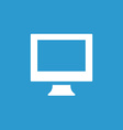 pc icon white on the blue background vector image vector image
