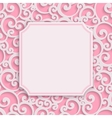 Pink 3d Vintage Invitation Card with Floral vector image vector image