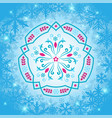 rosemaling winter snowflake ornaments in vector image vector image