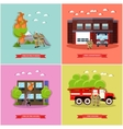 set of posters with fire fighting concept vector image vector image