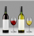 set of realistic of glass wine vector image vector image